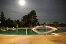 Free Swimming Pool At Night Stock Photography - 3199772