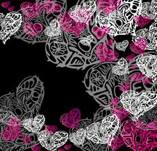 Free Hearts On Black Background Stock Images - 31909754