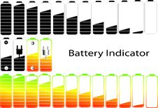 Free Vector Symbols Of Battery Level Indicator Royalty Free Stock Photography - 31912777
