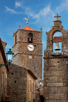 Monsanto Village With The Bell Tower / Portugal Stock Photos