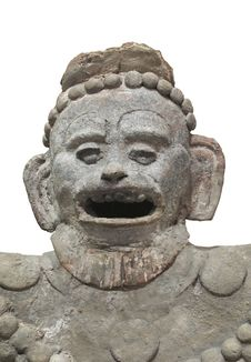 Free Ancient Aztec Statue Bust Isolated. Royalty Free Stock Photo - 31917965