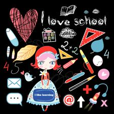 Free Schoolgirl And Various School Sites Stock Photos - 31918613
