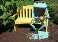 Free Frog Bronze Statue On Yellow Bench. Royalty Free Stock Image - 31927036
