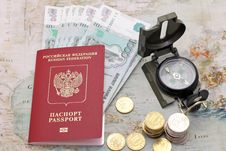 Passport, Money And Compass. Royalty Free Stock Photography