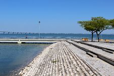 Free Parque Das Nações Footpath And Vasco Da Gama Bridge. Lisbon Royalty Free Stock Photos - 31925168