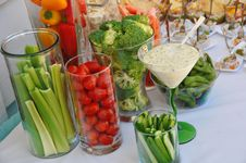 Assorted Fresh Vegetables With Dip Royalty Free Stock Photos