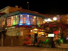 Free Colorful Lights From A Restaurant In The Old Town Stock Images - 31928964