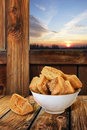 Free Small Sesame Square Puff Pastry Zu-Zu In White Porcelain Bowl On Rustic Wooden Table Royalty Free Stock Images - 31935049