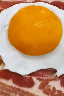 Bacon And Eggs Breakfast - Sunny Side Up Egg Fried With Bacon Rashers Royalty Free Stock Photography