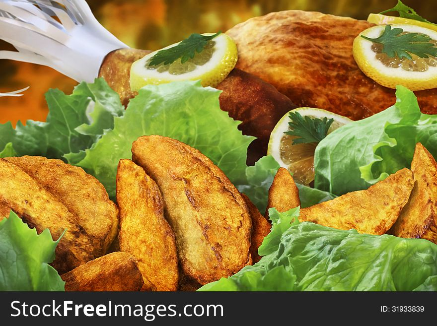 Grilled Lemon Chicken Garnished With Lemon Slices Lettuce And Parsley Leaves Served With Roasted Potato Slices Detail