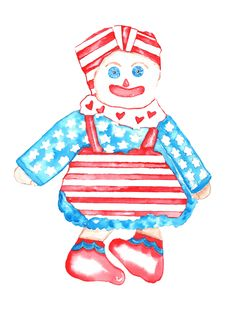 Free All American Rag Doll Watercolor Royalty Free Stock Images - 31947169
