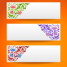Free Abstract Flower Ornamental Horizontal Banners Royalty Free Stock Image - 31952756