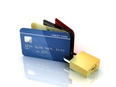 Credit Card And Padlock Stock Photography