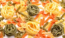 Different Pasta In Three Colors Royalty Free Stock Photo
