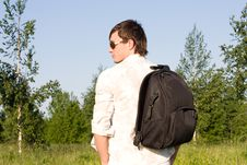 Free Young Man With Rucksack Outdoor Stock Images - 31960864