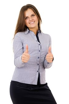 Free Business Woman Showing Sign Ok Hand Royalty Free Stock Photo - 31963955