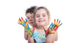 Free Children Witn Painted Hands Stock Image - 31964551