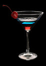 Free Tri-color Cocktail Martini With A Cherry Royalty Free Stock Images - 31977479