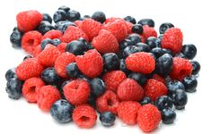 Mixed Blueberries And Raspberries