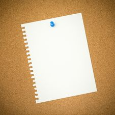 Blank Paper On Cork Board Royalty Free Stock Image