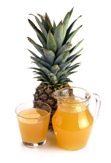 Full Glass And Jug Of Pineapple Juice Stock Photo