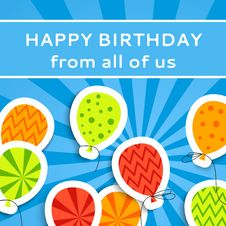 Free Happy Birthday Postcard With Balloons Royalty Free Stock Images - 31977769