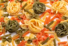 Different Pasta In Three Colors. Stock Photography