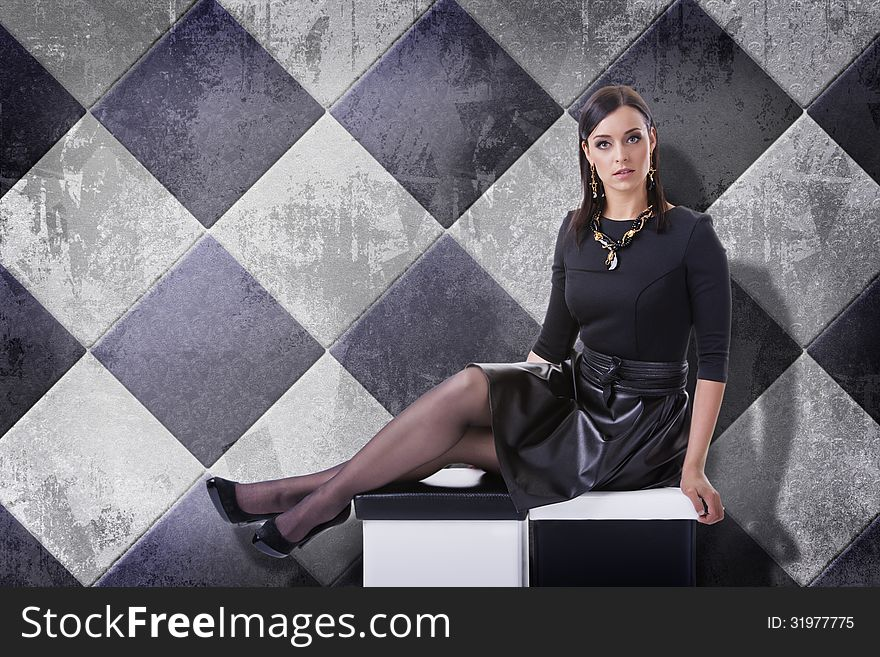 235f5c84bd9 Sensual Brunette Woman In Black With Jewelry - Free Stock Images ...
