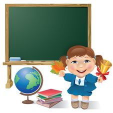 Free School Board, School Girl And Globe Stock Photos - 31989073