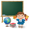 Free School Board, School Girl And Globe Stock Photos - 31989073