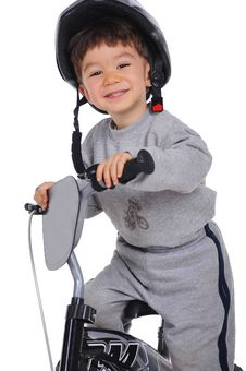 Free Smiley Boy Is Riding A Bicycle. Royalty Free Stock Image - 31990066