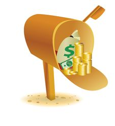 Free Sending With Gold In Mailbox Stock Image - 31990201