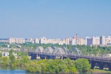 Free Darnitsa Bridge Over Dniper Stock Image - 31990701