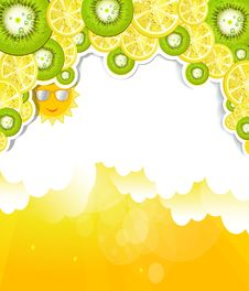Free Luminous Cloudy Background With Elements Of Kiwi A Royalty Free Stock Images - 31990989