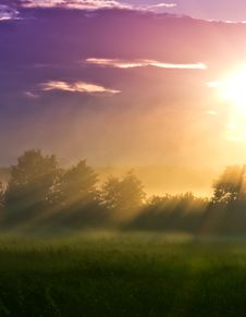 Sun Beams In A Foggy Valley Royalty Free Stock Photo