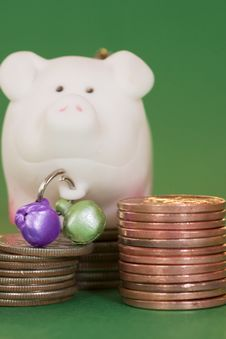 Coins And Pig Stock Photos