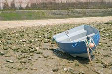 Tied Down Boat With Low Tide In The Bay Of Cadiz Stock Photo