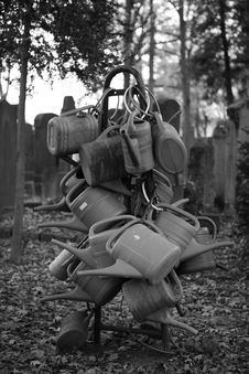Free Watering Cans On Cemetery Royalty Free Stock Photos - 328468