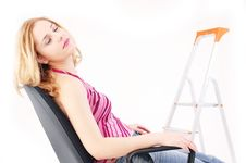 Free Girl Resting In Studio 2 Royalty Free Stock Images - 328839