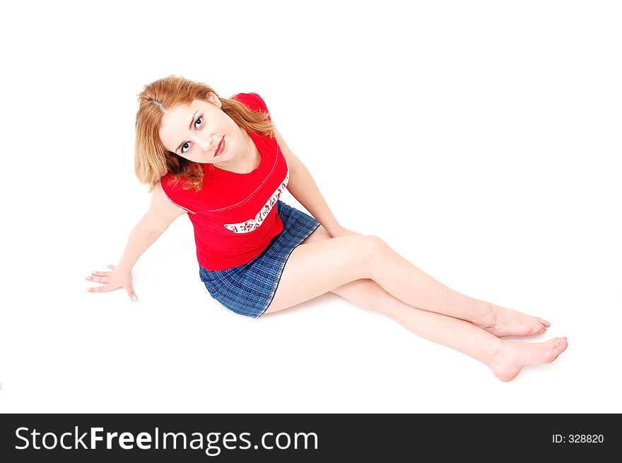 Sporty young girl resting