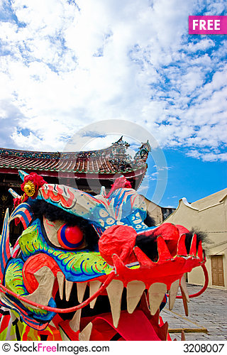 Free Oriental Dragon Head Royalty Free Stock Photography - 3208007