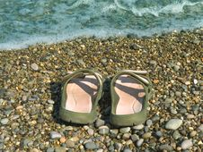 Free Pair Of Slipper On Beach Stock Photo - 3200480