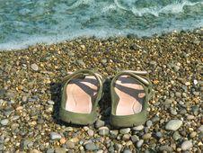 Free Pair Of Slipper On Beach Stock Photo - 3200480