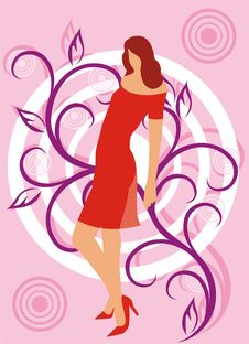 Free Girl In A Red Dress Stock Image - 3200841
