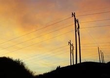 Free Powerline Sunset B Stock Photo - 3202600