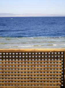 Wooden Beach Partition Stock Photo