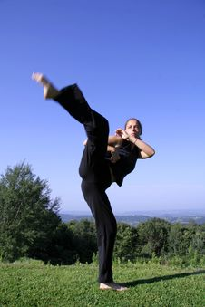 Free Woman Practising Self Defense Stock Photos - 3204943