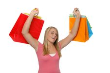 Free Teen Girl With Shopping Bags Stock Photo - 3205960