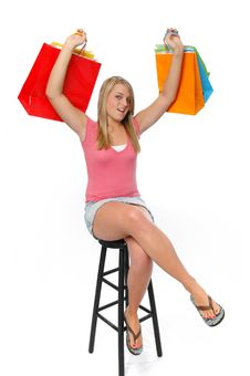 Free Beautiful Teen Girl Shopping A Stock Image - 3205961