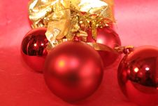 Three Red Baubles Royalty Free Stock Photo